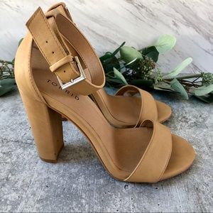 Torrid nude two strap block heel sandals size 8W